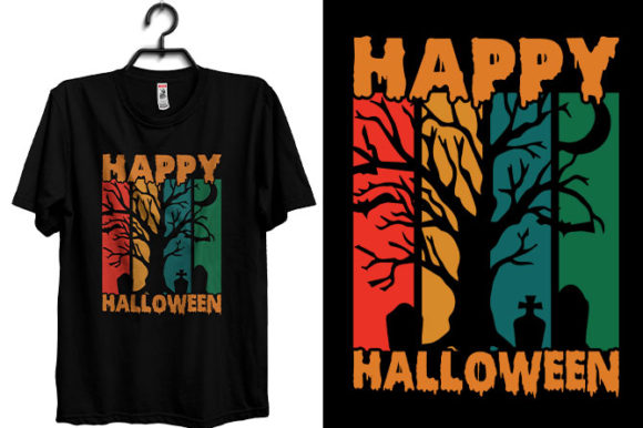 Halloween T-shirt Happy Halloween Graphic Print Templates By Storm Brain