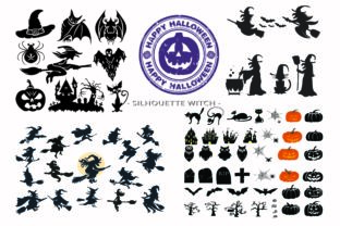 Print on Demand: Halloween Witch Sihouette Clip Art Graphic Illustrations By BOdesign