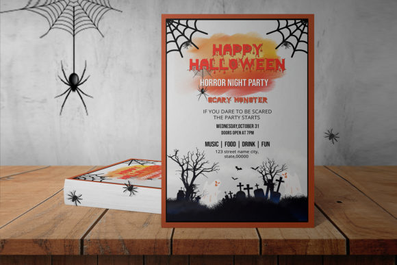Print on Demand: Halloween Party Flyer Template Graphic Print Templates By sistecbd
