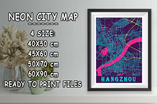 Print on Demand: Hangzhou - China Neon City Map Graphic Photos By tienstencil
