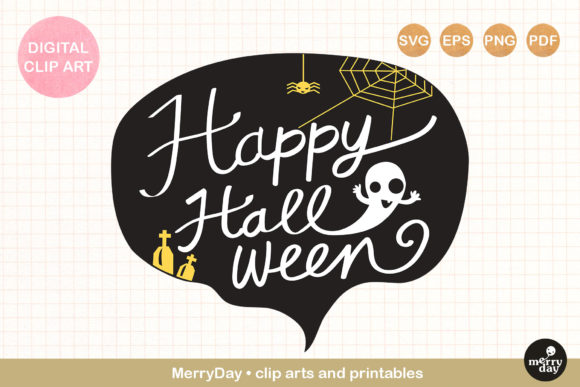 Happy Halloween Lettering Banner Design Graphic By Merryday Creative Fabrica