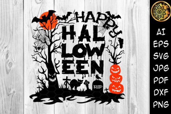 Happy Halloween SVG Cut Files 12x12 in Graphic Illustrations By V-Design Creator