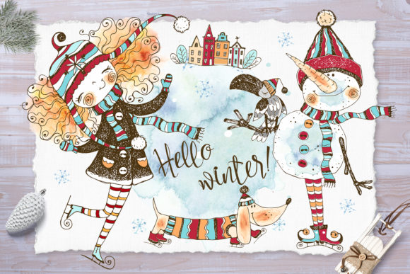 Hello Winter. Watercolors and Graphics Gráfico Illustrations Por grigaola
