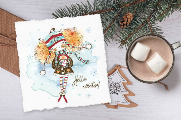 Hello Winter. Watercolors and Graphics Graphic Download