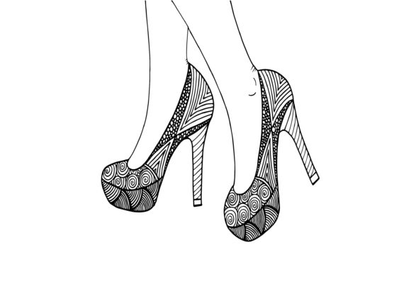High Heel Shoe, Hand Drawn with Ornament Graphic Illustrations By Santy Kamal