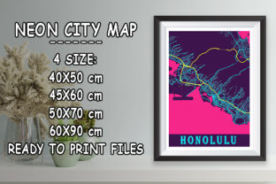 Print on Demand: Honolulu - United States Neon City Map Graphic Photos By tienstencil