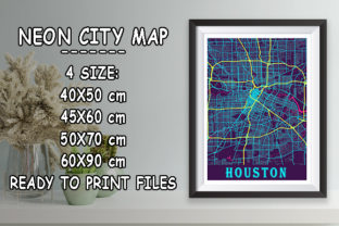 Print on Demand: Houston - Texas Neon City Map Graphic Photos By tienstencil