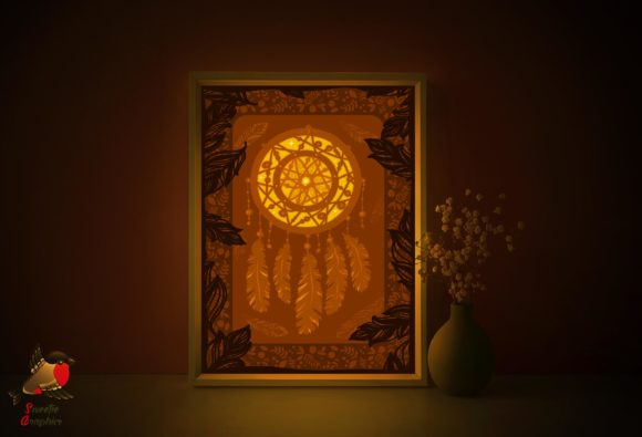 Indian Dream Catcher Lightbox Template Graphic 3D Shadow Box By SweetieGraphics