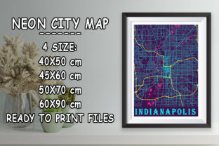 Print on Demand: Indianapolis - Indiana Neon City Map Graphic Photos By tienstencil