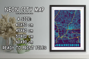 Print on Demand: Johannesburg - South Africa Neon Map Graphic Photos By tienstencil