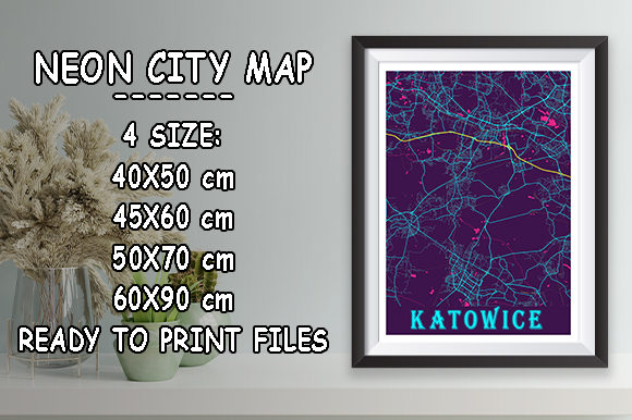 Print on Demand: Katowice - Poland Neon City Map Graphic Photos By tienstencil