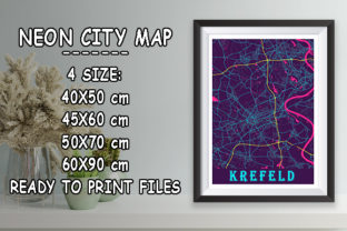 Print on Demand: Krefeld - Germany Neon City Map Graphic Photos By tienstencil