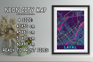Print on Demand: Laval - Canada Neon City Map Graphic Photos By tienstencil