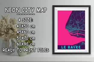 Print on Demand: Le Havre - France Neon City Map Graphic Photos By tienstencil