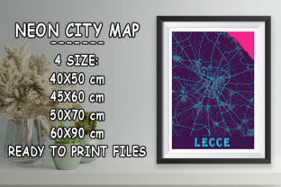 Print on Demand: Lecce - Italy Neon City Map Graphic Photos By tienstencil