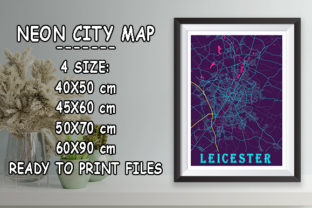 Print on Demand: Leicester - United Kingdom Neon City Map Graphic Photos By tienstencil