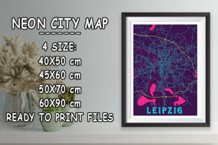 Print on Demand: Leipzig - Germany Neon City Map Graphic Photos By tienstencil