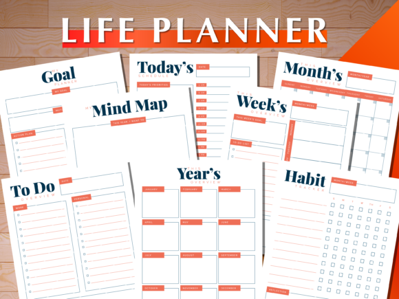 Print on Demand: Life Planner Graphic Print Templates By AscendPrints