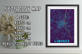 Print on Demand: Limoges - France Neon City Map Graphic Photos By tienstencil