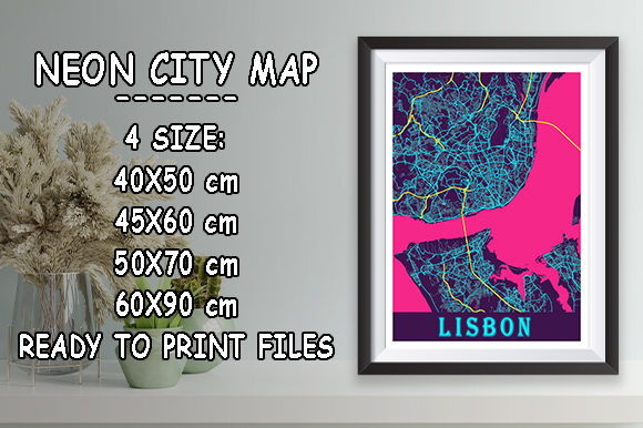 Print on Demand: Lisbon - Portugal Neon City Map Graphic Photos By tienstencil