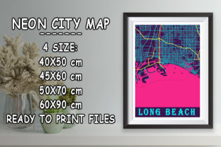 Print on Demand: Long Beach - United States Neon City Map Graphic Photos By tienstencil