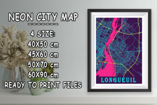Print on Demand: Longueuil - Canada Neon City Map Graphic Photos By tienstencil
