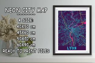 Print on Demand: Lyon - France Neon City Map Graphic Photos By tienstencil