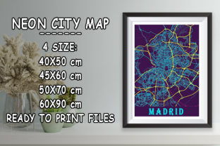 Print on Demand: Madrid - Spain Neon City Map Graphic Photos By tienstencil