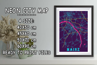Print on Demand: Mainz - Germany Neon City Map Graphic Photos By tienstencil