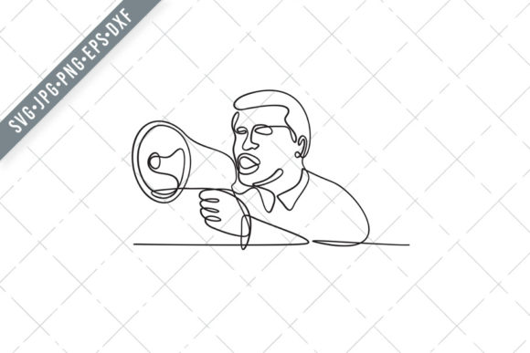 Print on Demand: Male Activist with Bullhorn Megaphone Graphic Illustrations By patrimonio