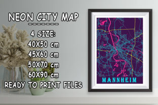 Print on Demand: Mannheim - Germany Neon City Map Graphic Photos By tienstencil