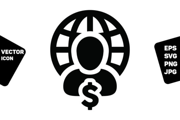 Print on Demand: Market Icon Vector Globe Dollar Sign Graphic Icons By TukTuk Design