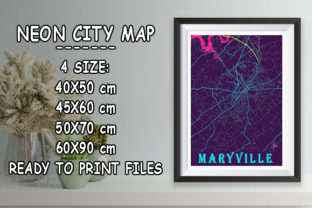 Print on Demand: Maryville - United States Neon City Map Graphic Photos By tienstencil