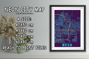 Print on Demand: Mesa - United States Neon City Map Graphic Photos By tienstencil