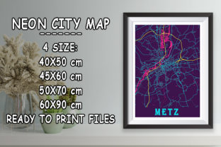 Print on Demand: Metz - France Neon City Map Graphic Photos By tienstencil
