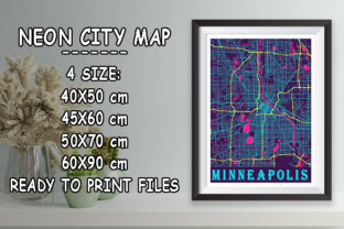 Print on Demand: Minneapolis - United States Neon Map Graphic Photos By tienstencil
