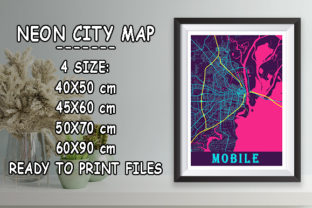Print on Demand: Mobile - United States Neon City Map Graphic Photos By tienstencil