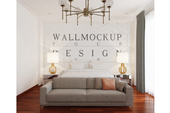 Mockup Wall in Modern Classic Bedroom Graphic Product Mockups By izharartendesign