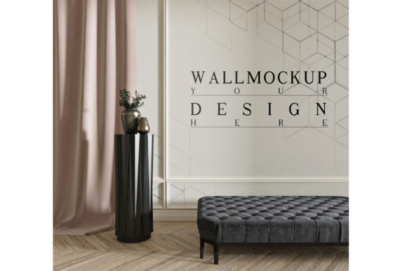 Mockup Wall in Modern Classic Living Room Graphic Product Mockups By izharartendesign