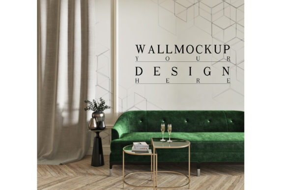 Mockup Wall in Modern Classic Livingroom Graphic Product Mockups By izharartendesign