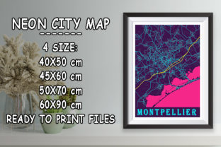 Print on Demand: Montpellier - France Neon City Map Graphic Photos By tienstencil