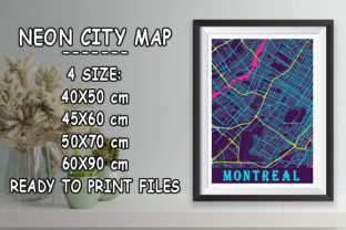 Print on Demand: Montreal - Canada Neon City Map Graphic Photos By tienstencil