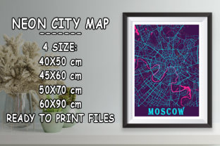 Print on Demand: Moscow - Russia Neon City Map Graphic Photos By tienstencil