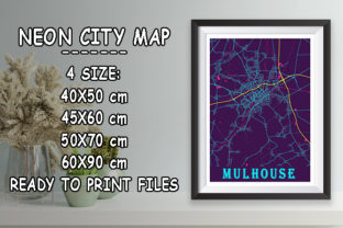 Print on Demand: Mulhouse - France Neon City Map Graphic Photos By tienstencil