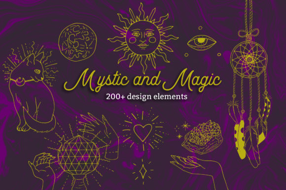 Mystic and Magic Line Art Clipart Graphic Objects By neauth
