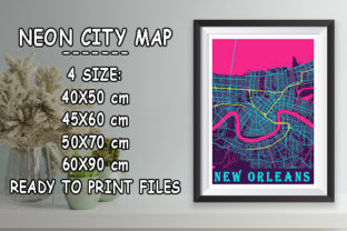 Print on Demand: New Orleans - Louisiana Neon City Map Graphic Photos By tienstencil