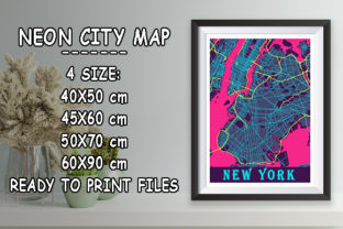 Print on Demand: New York - United States Neon City Map Graphic Photos By tienstencil