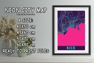 Print on Demand: Nice - France Neon City Map Graphic Photos By tienstencil