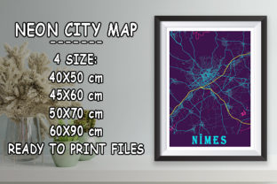 Print on Demand: Nîmes - France Neon City Map Graphic Photos By tienstencil