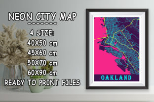 Print on Demand: Oakland - United States Neon City Map Graphic Photos By tienstencil